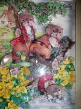 SIGNED FRAMED 3D DECOUPAGE SHADOW BOX PICTURE OTTERS BANK FISHING E.P. EVANS '00